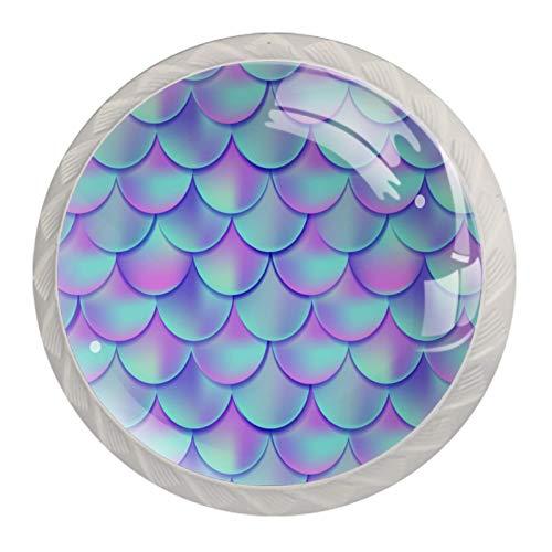 Perillas de cristal de cristal para cajones y tiradores de 3 cm, diseño de sirena, color morado