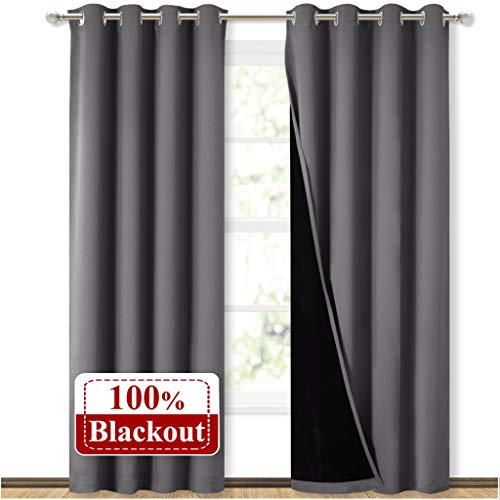 NICETOWN Grey Full Shade Curtain Panels, Pair of Energy Smart &...