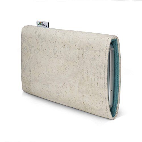 Stilbag maßgeschneiderte Korkhülle VIGO | Farbe: weiss-hellblau | Smartphone-Tasche aus Kork | Handy Schutzhülle | Handytasche Made in Germany