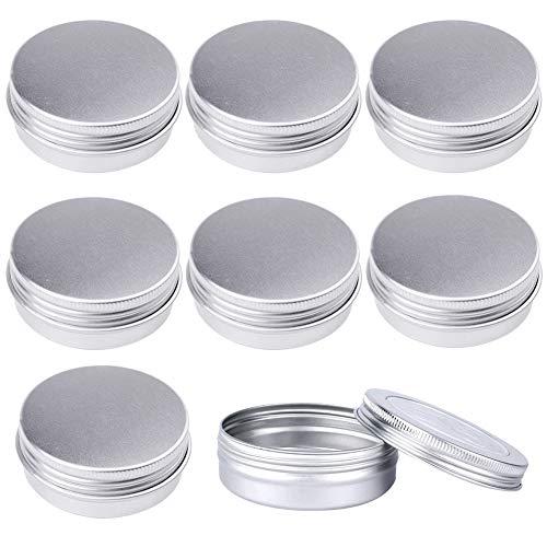 Pveath 24er Aluminium Leer Döschen Silber, 60ML Runde Dosen Cremedosen Blechdose Kosmetik Tiegel mit Schraub-Deckel Kleine Lagerung Kit für Lipbalm Creme Nailart