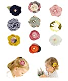 Baby Girls Hair Clips with Bows Flowers,Lined Alligator Fabric Barrettes Baby Hiar Accessories for Newborn Infant Toddler Girls Gifts