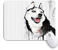 NIESIKKLAマウスパッド ペット水彩面白い動物ヒッピーハスキー犬 ゲーミング オフィス最適 高級感 おしゃれ 防水 耐久性が良い 滑り止めゴム底 ゲーミングなど適用 用ノートブックコンピュータマウスマット