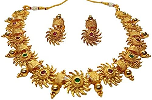 Gold Plated Kundan Stone Studded Copper For Girls And Women Surya Chakra Necklace