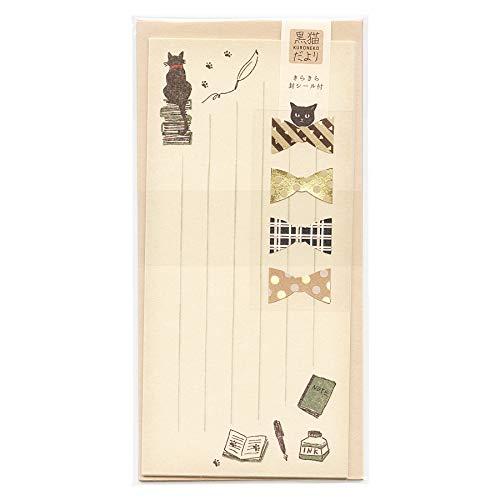 黒猫だより 一筆レターセット【書斎と黒猫】 LI236-380