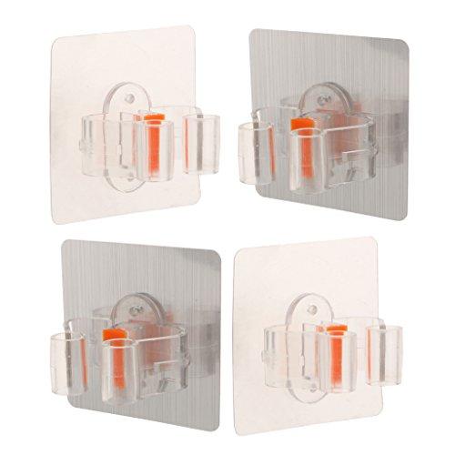 MERIGLARE Porta Escobas de 4 Piezas, Placa Base de PVC de 2 Colores: Transparente Y Plateado