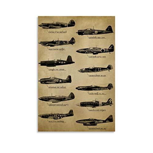 Póster de aviones de combate de la Segunda Guerra Mundial Pintura de lienzo decorativo para pared de sala de estar o...