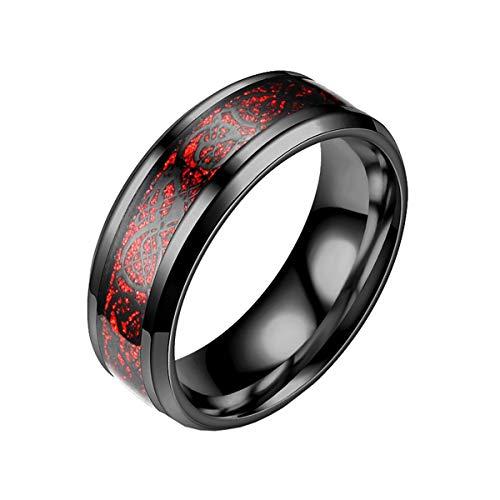 HIJONES Anillo Celtic Dragon Rojo Carbon Fiber Black 8mm Boda De Los Hombres Acero Inoxidable Tamaño 10