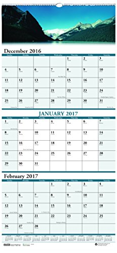 """House of Doolittle 2017 Wall Calendar, Three-Month View, Earthscapes Scenic, 8"""" x 17"""" (HOD3636-17)"""
