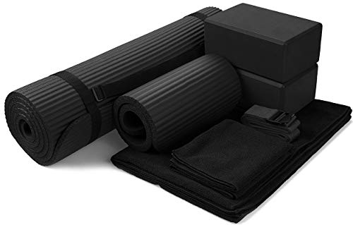 "BalanceFrom GoYoga 7-Piece Set - Include Yoga Mat with Carrying Strap, 2 Yoga Blocks, Yoga Mat Towel, Yoga Hand Towel, Yoga Strap and Yoga Knee Pad (Black, 1/2""-Thick Mat)"