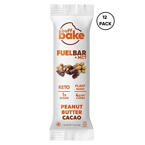 Buff Bake Fuel Bar  MCT | KETO FRIENDLY | Plant Based | NonDairy | Vegan |12g of Protein | 1g Sugar | 4g Net Carbs | Gluten Free 12 Count 50g Peanut Butter Cacao 12 Count