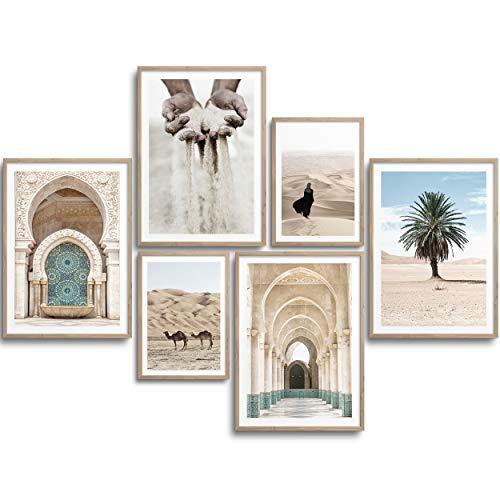 MONOKO® Premium Poster Wohnzimmer Bilder Set 6 Motive als stilvolle Wanddeko (Set Beige, Marokko, Palme, 4X A2   2X A3)