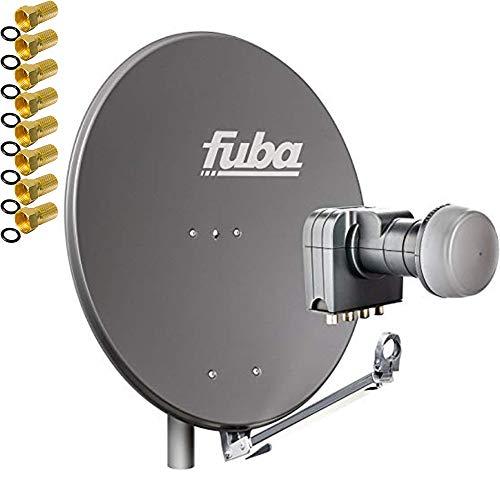 Fuba DAL 804 A + Quad LNB Sat Satelliten Anlage Schüssel DEK 417 4 Teilnehmer + Alu Spiegel Anthrazit für 4 Teilnehmer HDTV 4K 3D kompatibel Aluminium