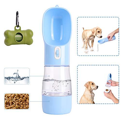 PetInn Botella de Agua para Perro, 2en1 Dispensador de Agua y Comida Portátil a Prueba de Fugas para Mascotas al Air Libre para Pasear, Viajar, Senderismo Viene con Bolsa para Desechos de Perro