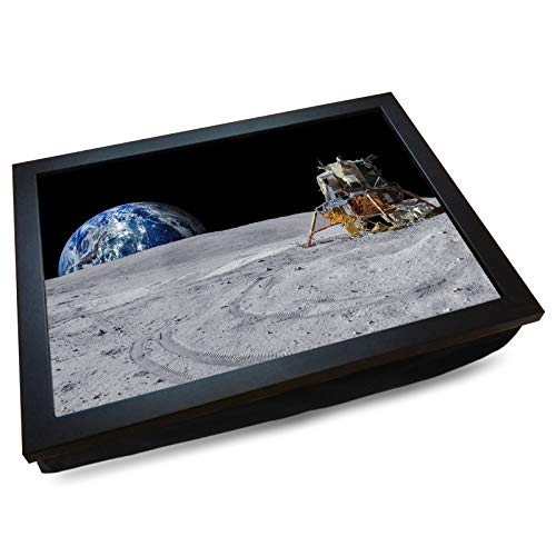 Deluxe Cushioned Lap Tray | Earthrise on the Moon | Wooden Frame | Bean Bag Cushion Base | #DL