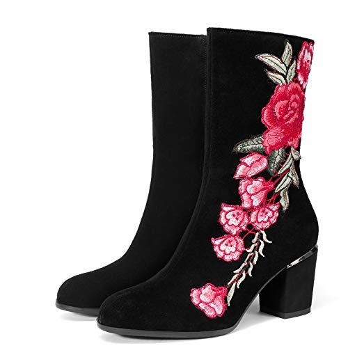 ZLFCRYP Talones Cuadrado de la Manera Mujeres Botas borda Vendimia de Las señoras Cargadores del Tobillo Flor Hembra Zapatos black-36