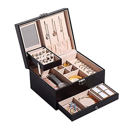 Caja Joyero 2 niveles PU Cuero Organizador Organizador Caja de gran capacidad Anillos Colgantes Estuche de almacenamiento con lock&espejo Recipientes artesanales para niñas o mujeres Jewelry Organizer