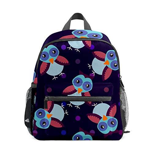 Backpack Student Bookbag for Kids Girls Boys,Owl Dark Color Casual Daypack School Travel Bag Organizer Gift