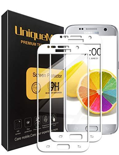 UniqueMe Compatible with Schutzfolie Galaxy S7,Galaxy S7 Panzerglas, [2 Stück] Full Cover Gehärtetem Glas Hartglas Displayschutzfolie mit Lebenslange Ersatzgarantie - Weiß