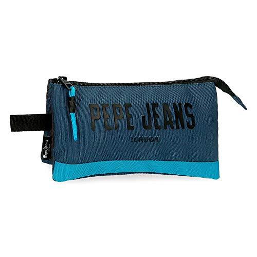 Pepe Jeans Skyler Estuche Tres Compartimentos Azul 22x12x5 cms Poliéster