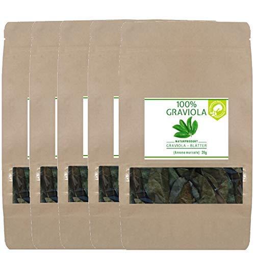 5 x 100% BIO Graviola Blätter (5 x 20g), NEUE ERNTE, Wildsammlung, Naturbelassen & Unbehandelt -Guanabana-Stachelannone-Soursop-Corossol