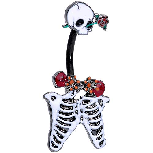 Body Candy Womens 14G Black Skeleton Skull Rose Double Mount Belly Button Ring