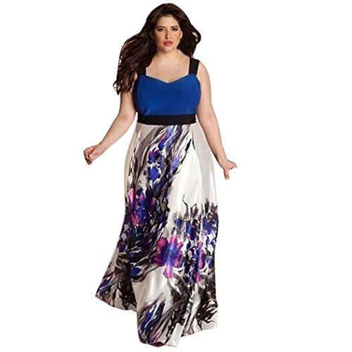 SHOBDW Vestidos de Cóctel para Mujeres Elegante Maxi Largo Vestidos de Tallas Grandes Altura de la Cintura de Sin Mangas de Verano para Eventos Vestido de Fiesta (5XL, Azul)