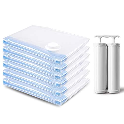 Sacchetti Sottovuoto Salvaspazio 6*Extra Grandi (100x80cm) fino al 80% di risparmio di spazio, perfetto per la conservazione di asciugamani, piumini, lenzuola, cuscini, coperta e vestiti di viaggio