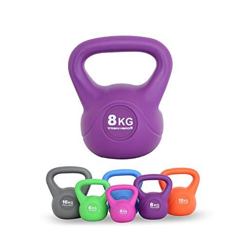 Train Hard Kettlebell 8 kg Kugelhantel Kunststoff mit Zement Füllung farbig, ideal für Krafttraining Gymnastik und Heimtraining
