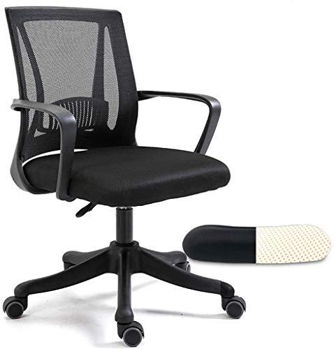 Sessel GSN Schreibtisch-Stuhl Gitter Rotating, Ergonomischer Mitarbeiter Stuhl, Feste Taille Kissen/reduzierte Taille Druck, Latex-Kissen/Reißfest Mesh (Optional Farbe) (Color : Black)