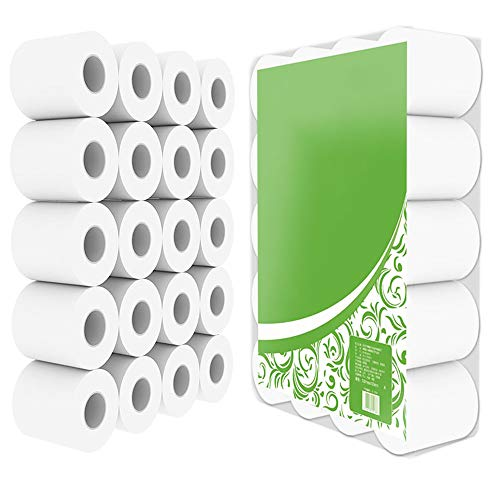 20 Rolls 4-Ply Toilet Paper Bulk Classic Clean Toilet Tissue Luxury Hollow Toilet Tissue Soft Comfort Paper Rolls for Household Cafe Shop Restaurant Kitchen Bathroom