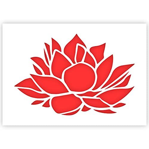 QBIX Plantilla de flor de loto - Tamaño A5 - Plantilla de bricolaje reutilizable para niños para pintar, hornear, manualidades, pared, muebles