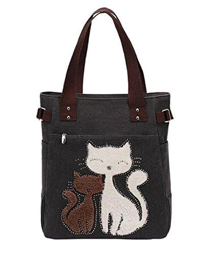 Casa Donna Retrò Vintage Tela Borsa A Tracolla Borsetta due gatti ricamato Shopper (Nero)