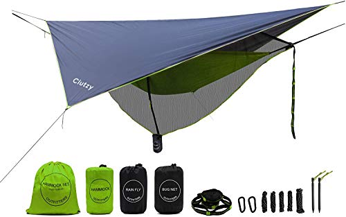 Ciutzy Camping Hammock | Bundle Includes Net, Tarp, Tree Straps, Backpack | Weighs 4 Pounds, Perfect for Hammock Camping,Backpacking,Hiking | Lightweight Nylon Single Hammock