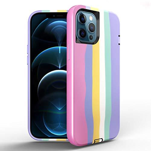 FHZXHY Compatible con iPhone 12 Pro Max Case Liquid Color Silicona 3 en 1 Full Body Cover Protectora a prueba de golpes antideslizante Drop Phone Case para iPhone 12 Pro Max 5g 6.7 pulgadas Rainbow A