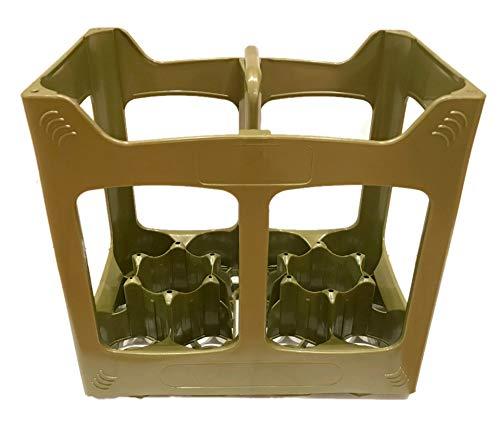 Plástico 10 Compartimientos Caja de Cajón Contenedor Botella De Cerveza Se adapta a botellas de 10 x 330 - 500ml Utilizado Casa Depósito Apilado Reciclaje Cristal Cervecerías Vino Sidra (Verde, 1)