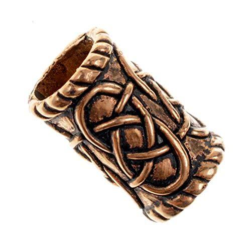 Unbekannt Bartperle Zylindrische/Perle für Dreadlocks/Stil der Kelten/Lochdurchmesser 8 mm (Bronze)