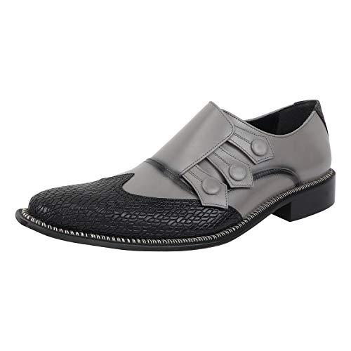 LIBERTYZENO Triple Monk Strap Slip-on Loafer Mens Genuine Leather Formal Business Wingtip Brogue Dress Shoes Black/Grey