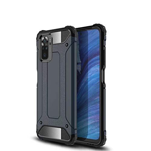 JIAFEI Funda Compatible con Xiaomi Redmi Note 10 4G, Doble Capa Híbrida Armour Antigolpes Rugged Durable Phone Case Funda Protectora, Azul Oscuro