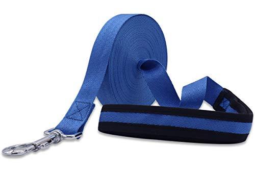 Leeyunbee 10M Cuerda de Adiestramiento para Perros, Correa de Perro Resistente Robusto, Correa Perro Larga Nylon, Correa de Entrenamiento para Perros Grandes y Pequeños (Azul)