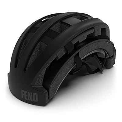 FEND Folding Commuter Bike Helmet - 2020 Version (Medium/Large - Matte Black)