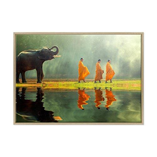 Afbeelding op canvas, ingelijst, met lijst, Monaci Tibetaan, Tibet – olifant boeddhisme – 70 x 100 cm – moderne stijl…