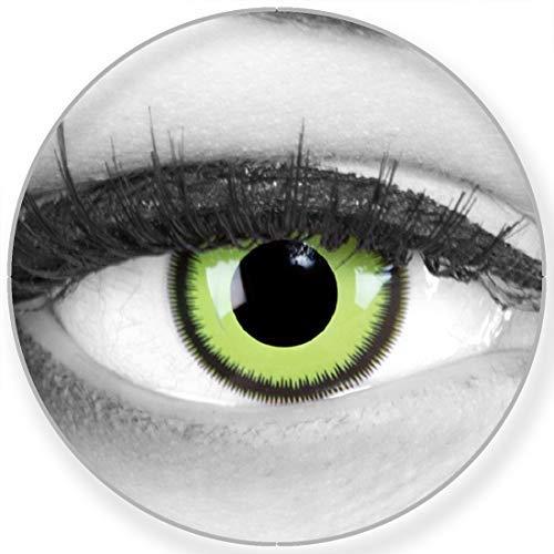 Funnylens Farbige Kontaktlinsen Green Lunatic grün weich ohne Stärke 2er Pack + gratis Behälter – 12 Monatslinsen - perfekt zu Halloween Karneval Fasching oder Fasnacht