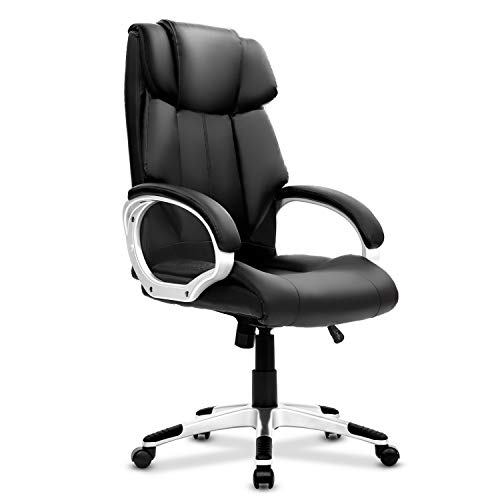 Big and Tall Executive Office Chair, High Back Adjustable Ergonomic Chair, Heavy Duty Desk Chair, PU Leather Seat with Arm and Lumbar Support, Swivel Conference Task Rolling Chair for Home Office