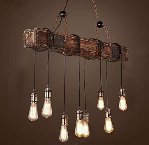 Pendelleuchte Retro Industrial Hängeleuchte Höhenverstellbar Vintage Metall Kronleuchter für E27 Glühbirne Pendellampe Holz für Esstisch Küche Wohnzimmer Bar Cafe (8 Sockel)