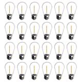 Jslinter 24-Pack LED 1W String Light Bulbs, UL Listed, S14 Plastic Shatterproof Edison Vintage Style Replacement 1 Watt Outdoor Light Bulbs 2200K, Waterproof, Warm White Equivalent to 11w, e26 Base