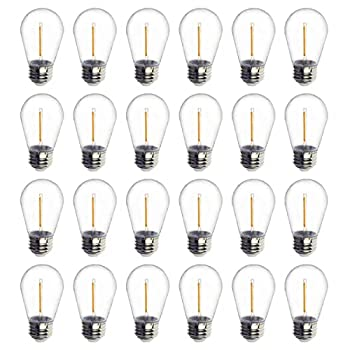 24-Pack LED 1W String Light Bulbs UL Listed Jslinter S14 Plastic Shatterproof Edison Vintage Style Replacement 1 Watt Outdoor Light Bulbs 2200K Waterproof Warm White Equivalent to 11w e26 Base