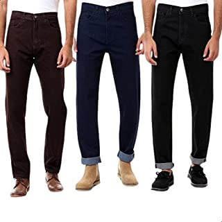 Andora Side-Pocket Front-Button Straight Cut Jeans for Men - 3 Pieces - Multi Color, 34