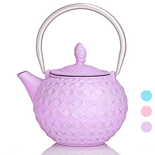 Cast Iron Teapot, Japanese tea kettle,Tea pot with infusers for loose tea,Diamond Design Teapot Coated with Enameled Interior for 28 Ounce-Lilac Purple