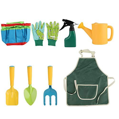 8PCS Juego de herramientas de jardín para niños Niños Niñas Juguetes de juego de jardín Bolsa de asas de jardinería Kit de herramientas de jardinería Palas Trasplante de paleta Rastrillo manual