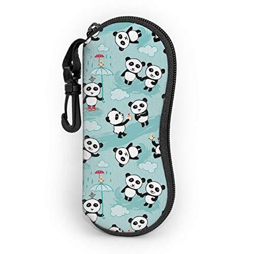 Gafas de sol Funda suave con clip para cinturón lindo pandas en bambú portátil ultra ligero neopreno cremallera gafas caso seguridad gafas bolsa para hombres mujeres